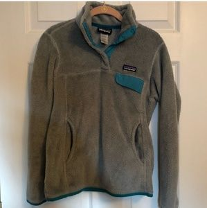 Patagonia Grey and Teal Snap-T Pullover